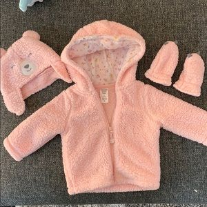 Super soft baby hoodie with hat and mittens.